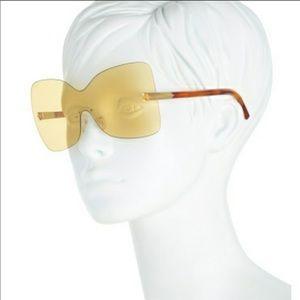 NWT Fendi Sunglasses Yellow/Havana 65mm Oversized